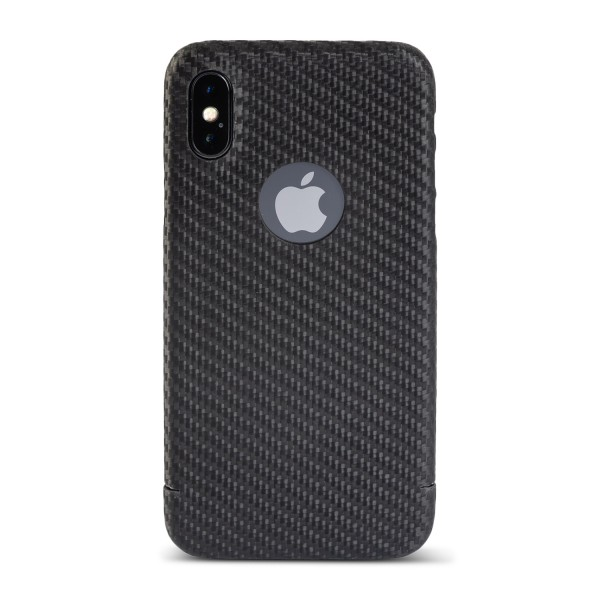 Carbon Cover iPhone X WITH Logo Window